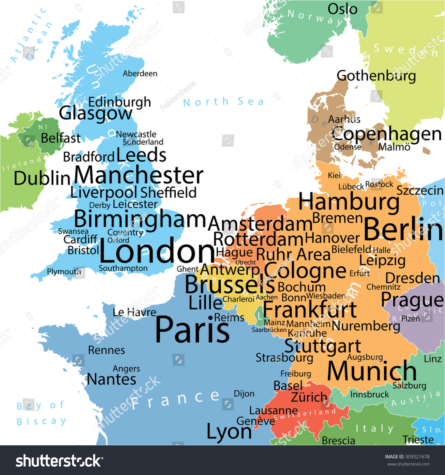 Map Western Europe Largest Cities Carefully Stock Vector Royalty