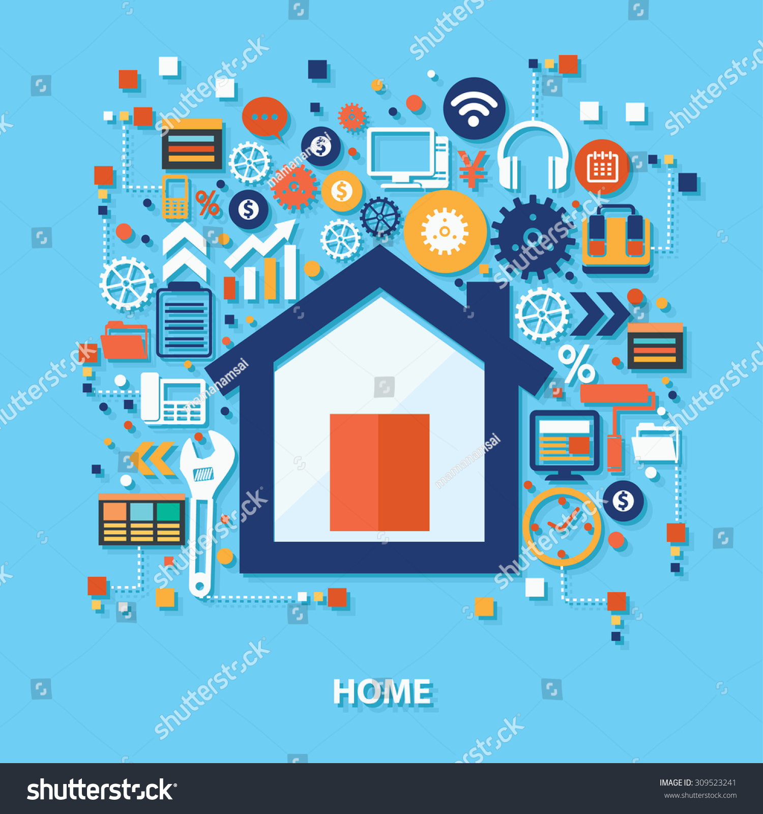Home Concept Design On Blue Backgroundclean Stock Vector 309523241 ...