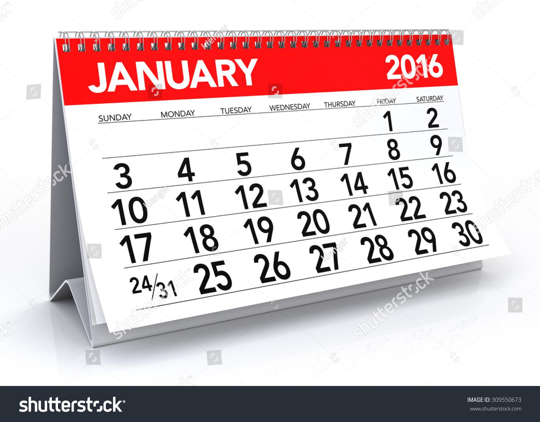 Calendar - January 2016 Calendar Isolated On White Background 3d Rendering