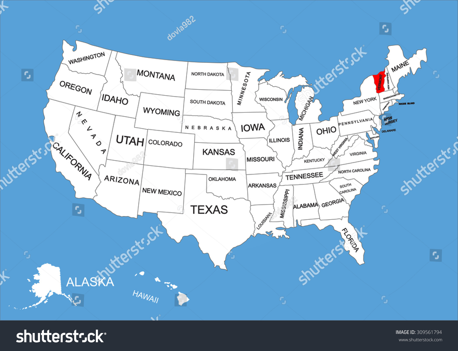 Vermont State Usa Vector Map Isolated On United States Map - Usa maps vermont