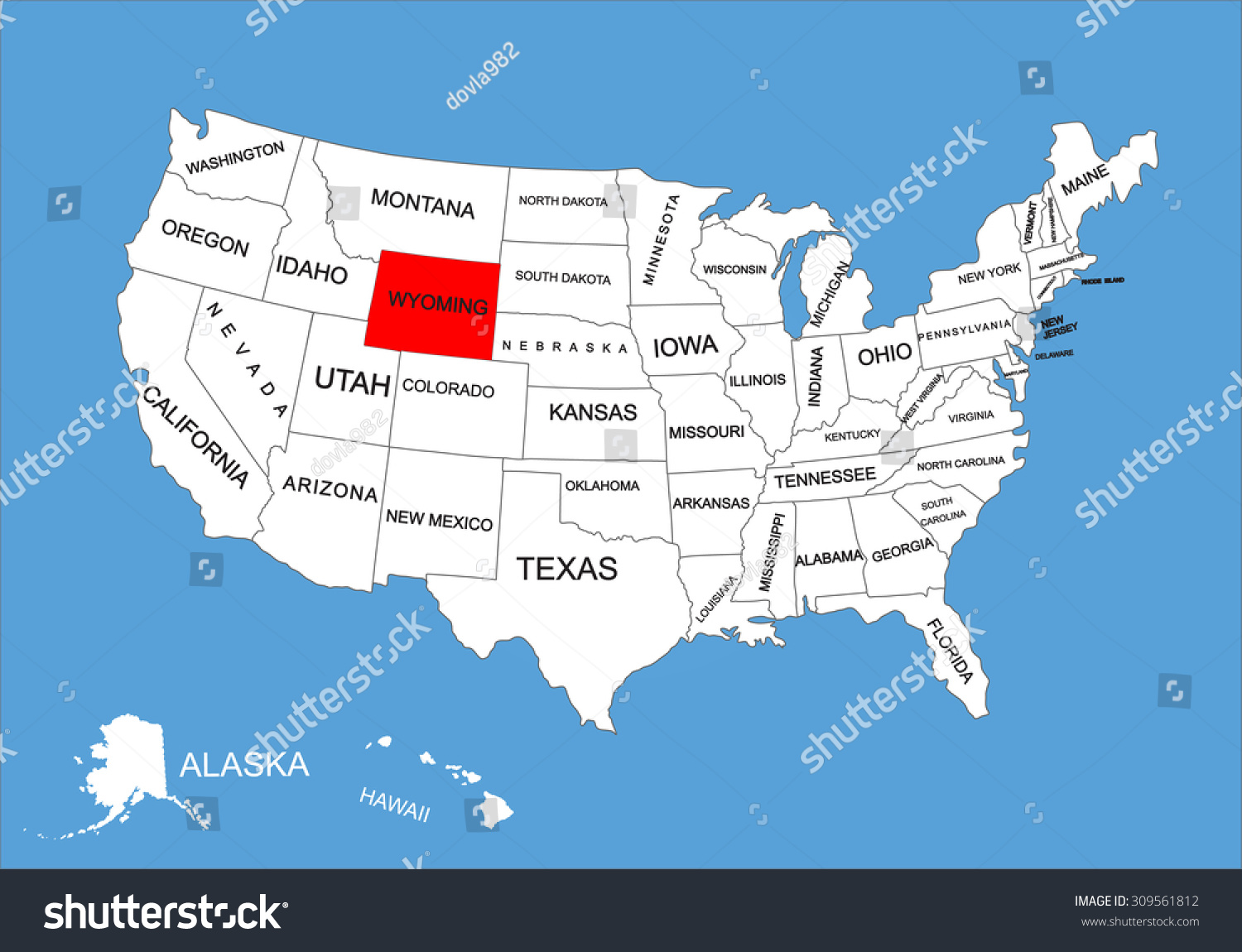 wyoming on the us map Wyoming State Usa Vector Map Isolated Stock Vector Royalty Free wyoming on the us map
