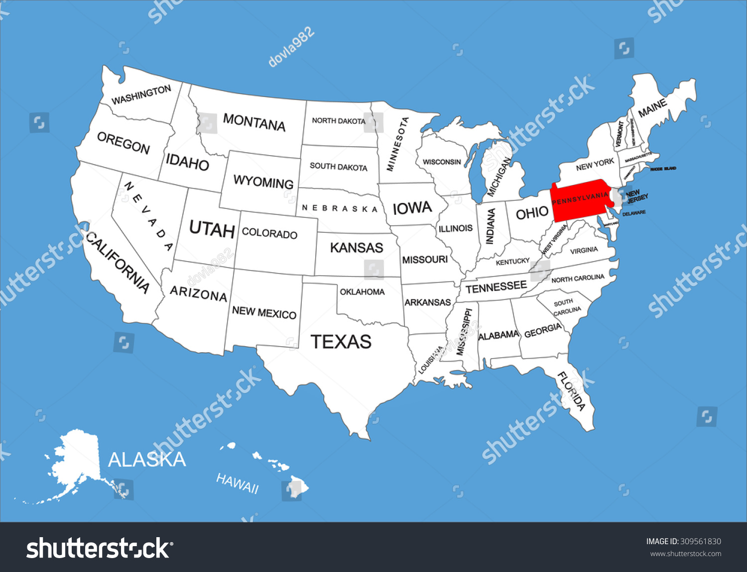 Pennsylvania State Usa Vector Map Isolated Stock Vector - Us map pennsylvania state