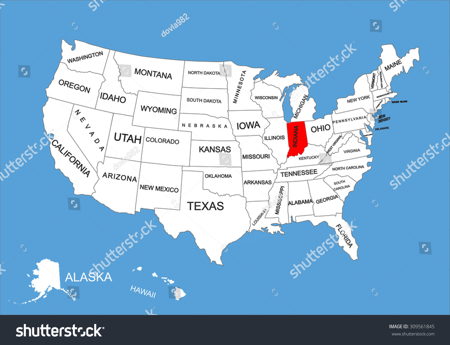 Indiana State Usa Vector Map Isolated Stock Vector - Indiana state on us map