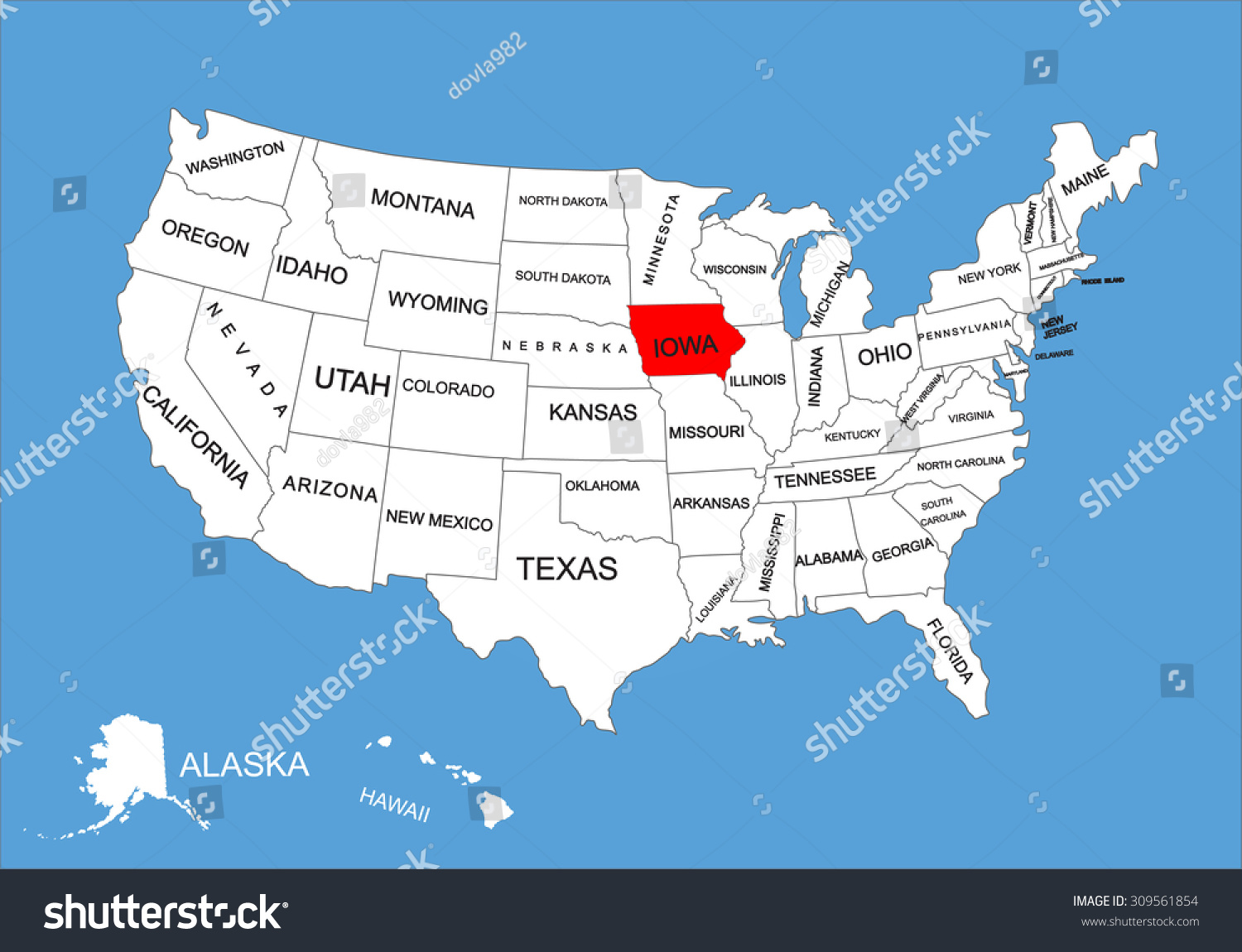 Iowa State Usa Vector Map Isolated Stock Vector 309561854