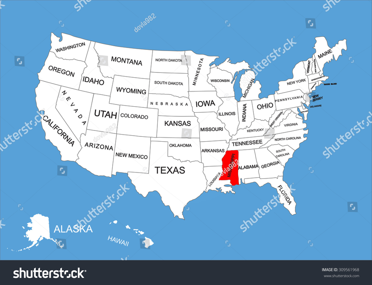 mississippi state map usa Mississippi State Usa Vector Map Isolated Stock Vector Royalty mississippi state map usa