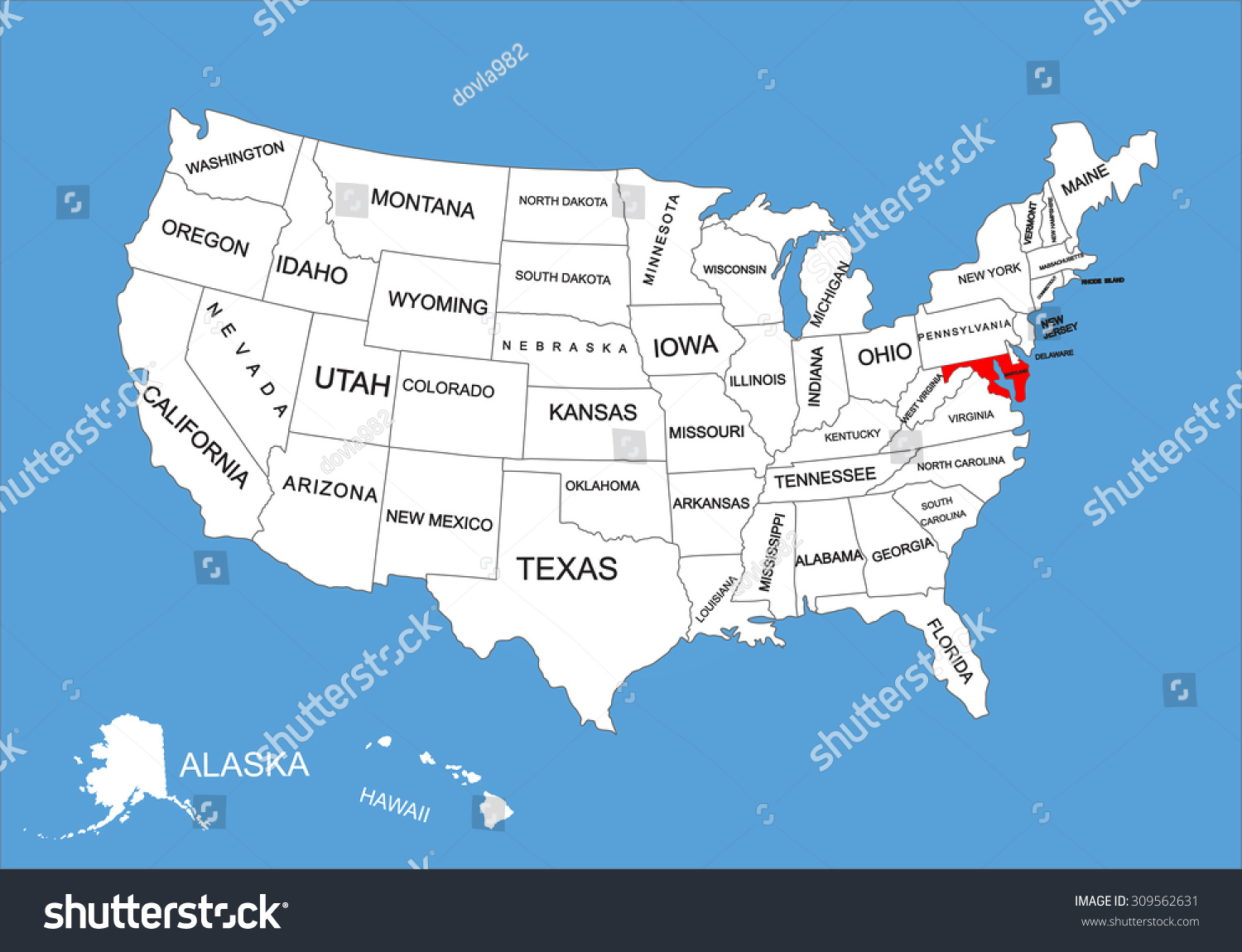 Maryland State Usa Vector Map Isolated On United States