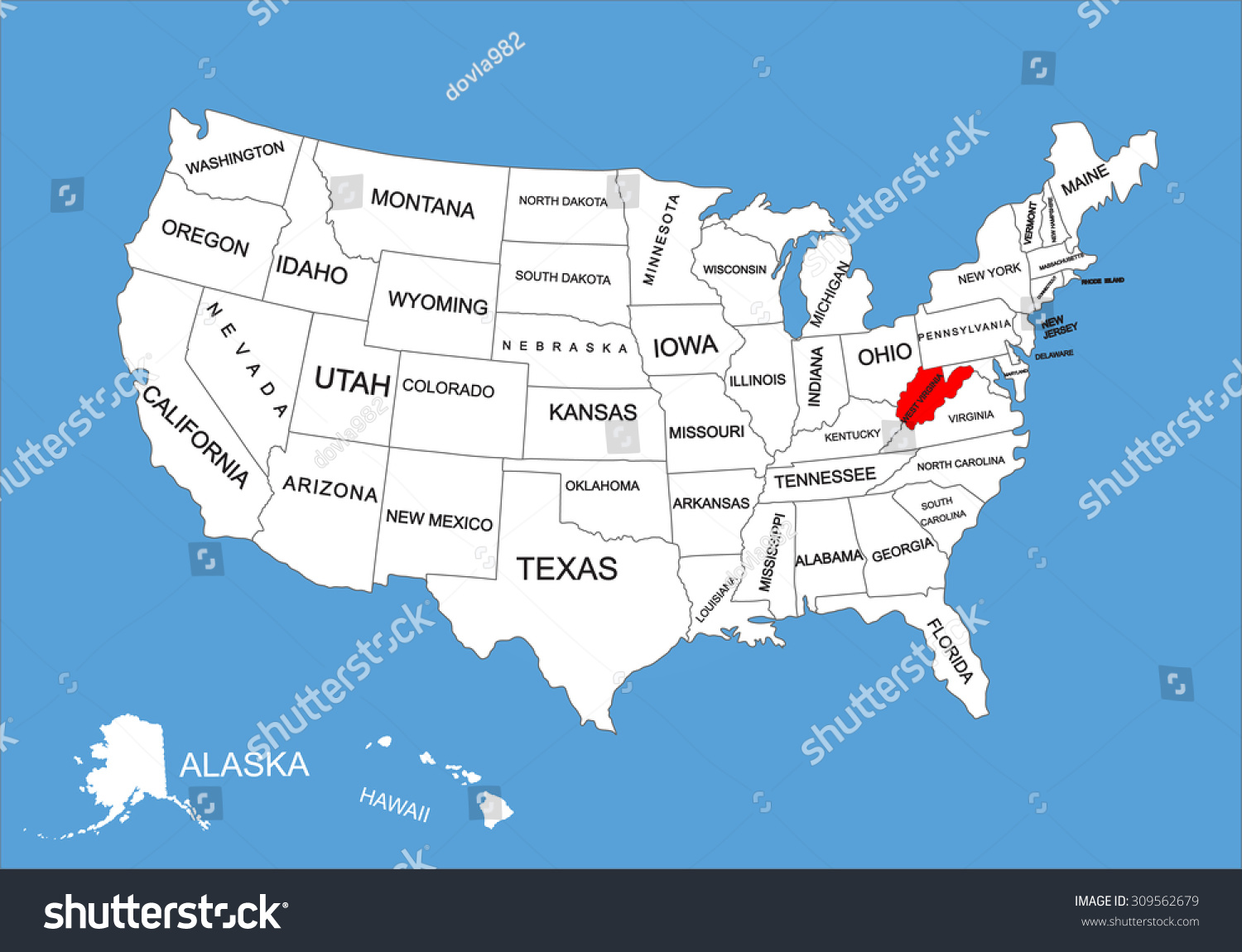 West Virginia State Usa Vector Map Stock Vector 309562679