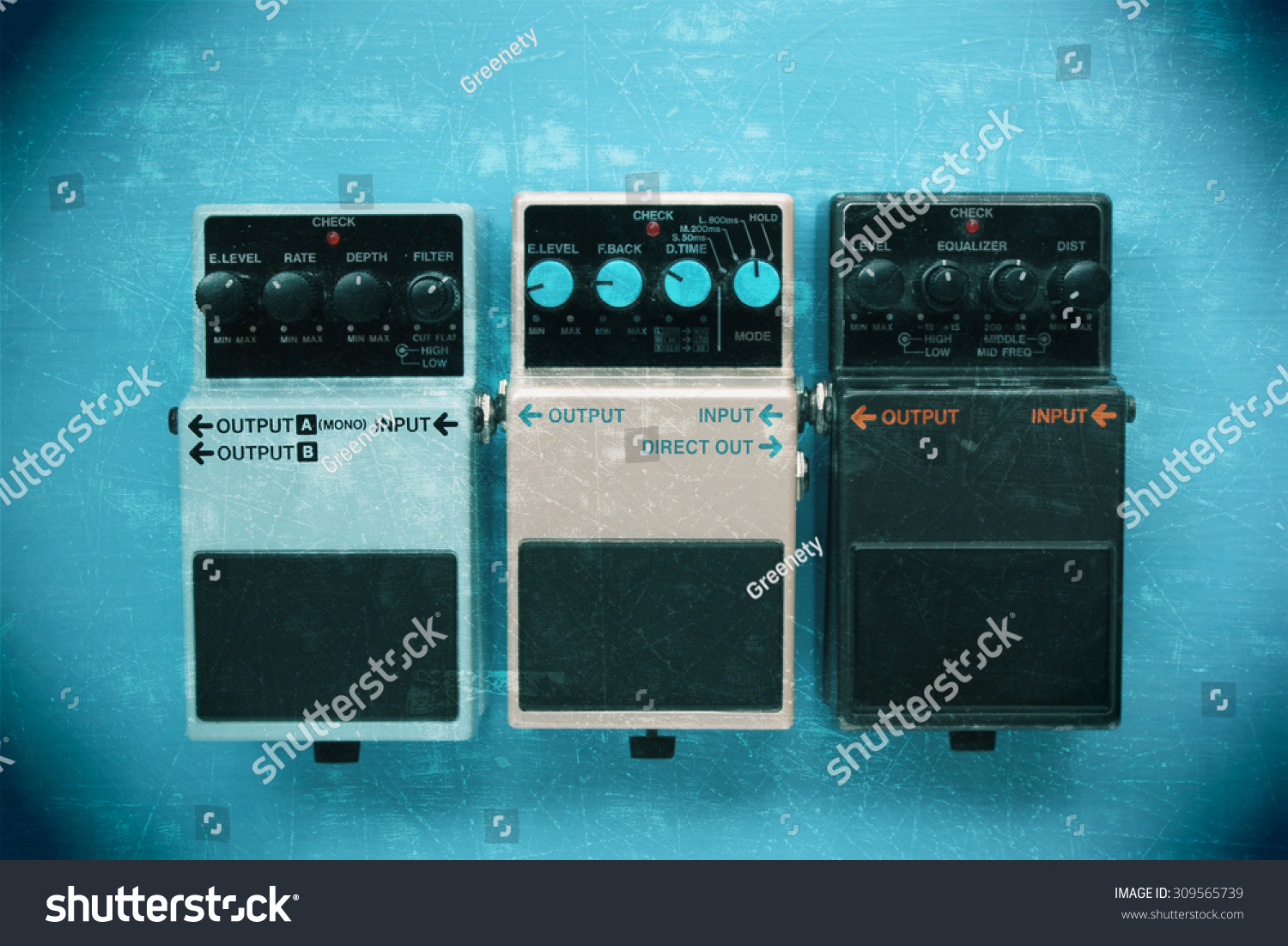 guitar pedals grunge effect stock photo 309565739 shutterstock. Black Bedroom Furniture Sets. Home Design Ideas