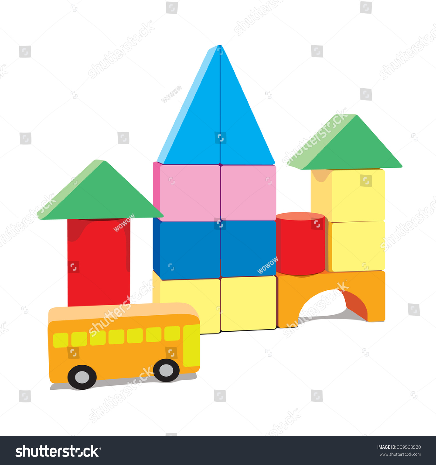 Baby Building Blocks Bus Blank Stock Vector Shutterstock