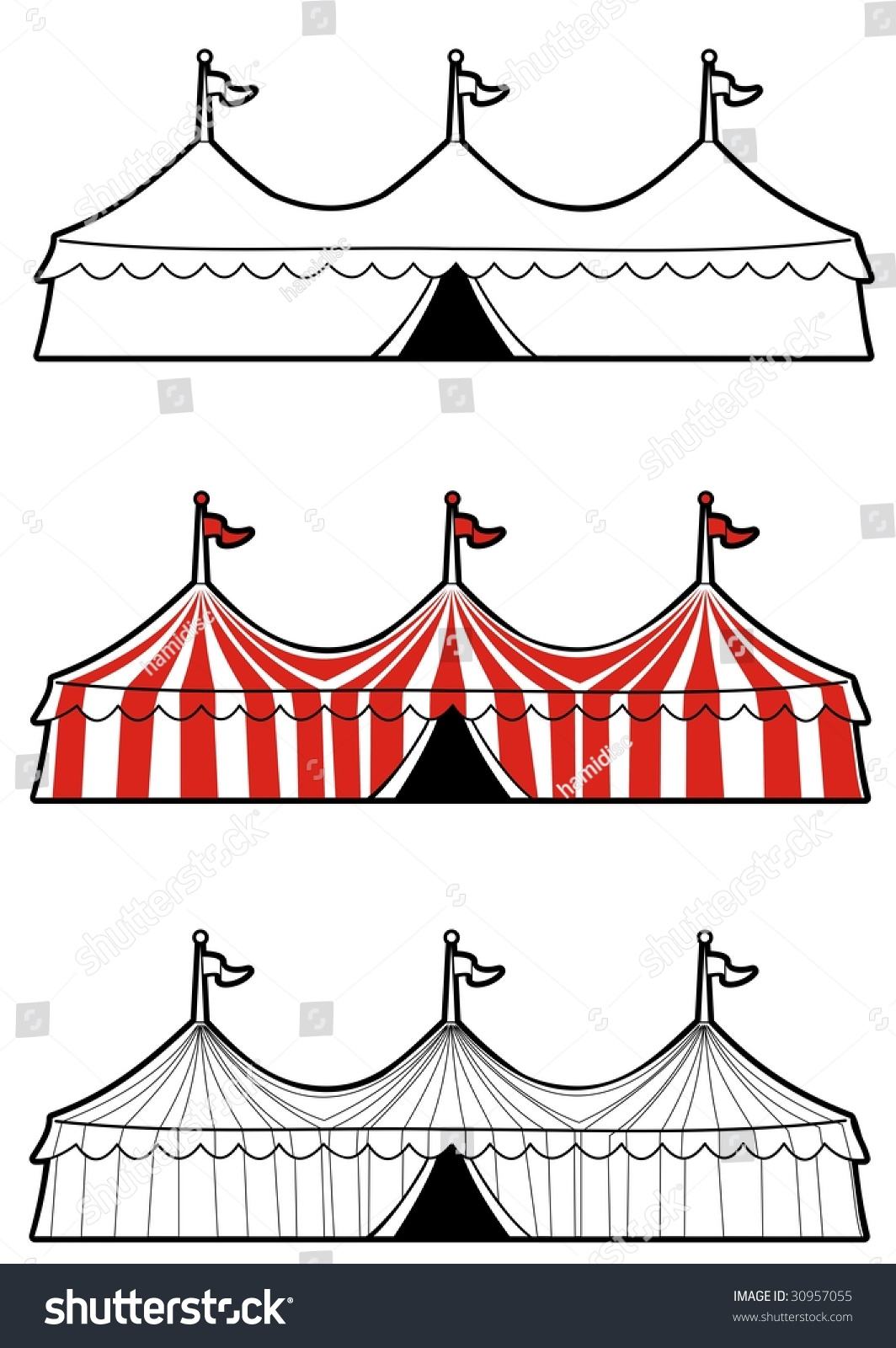 Illustration Three Ringed Circus Tent Color Stock Vector ...