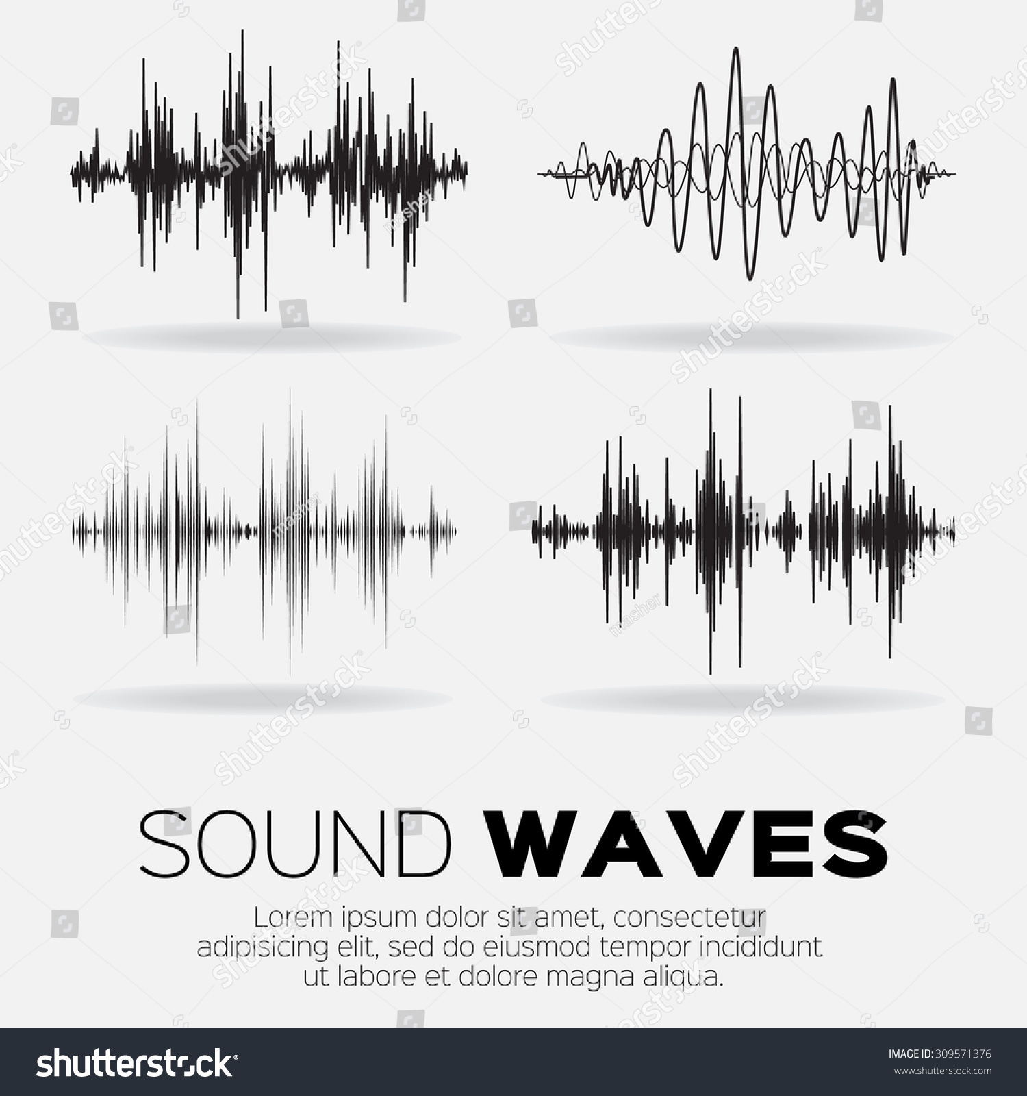 Acoustic Sound Waves : Vector music sound waves set audio stock
