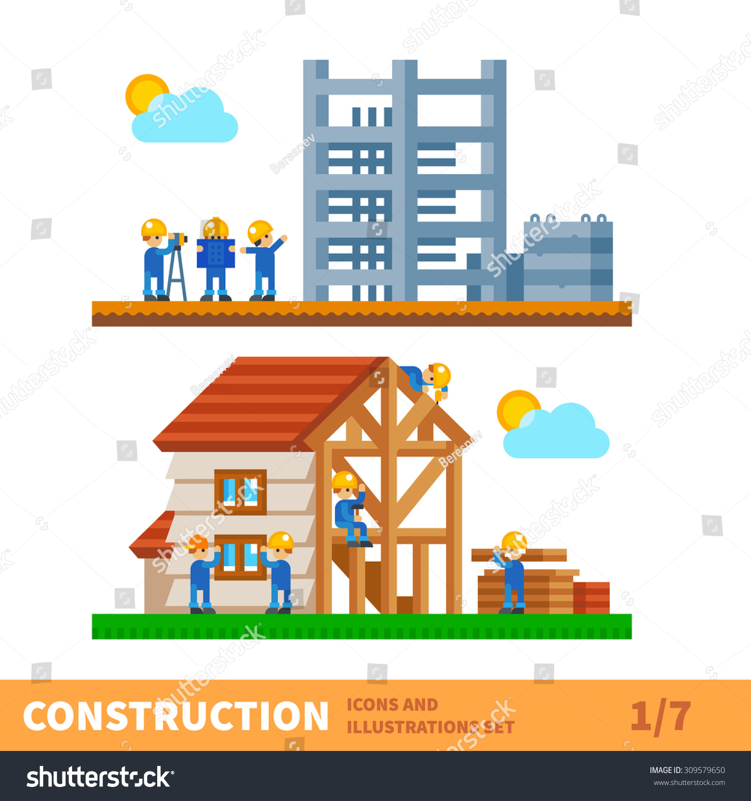 Construction Set Process Building House Engineering Stock