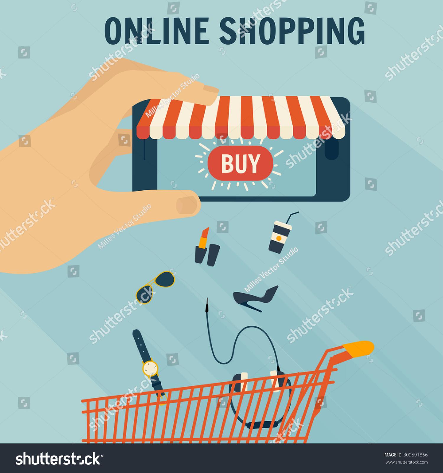 Mobile phone online store online shopping stock vector for Shop mobili online