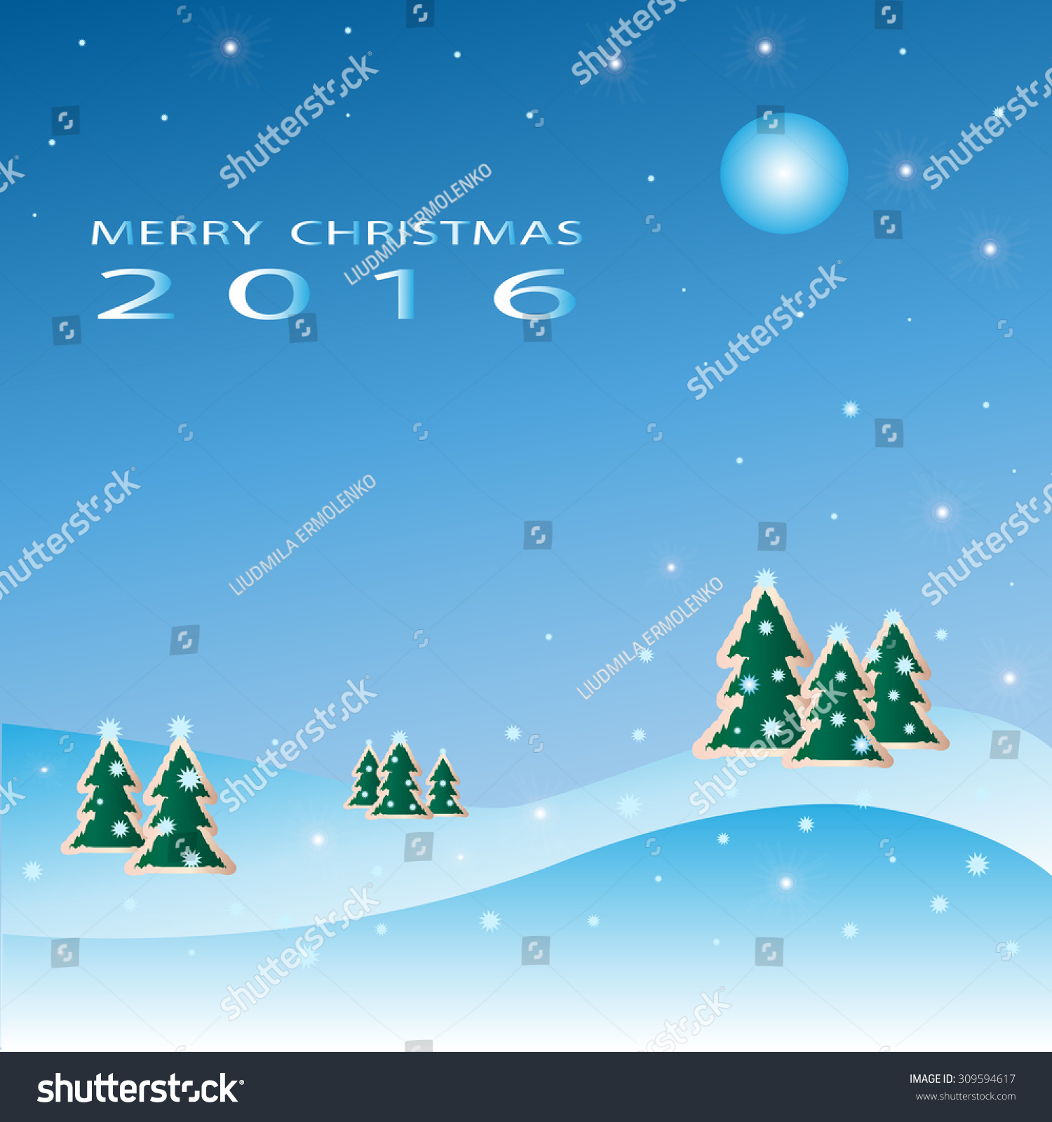 merry christmas background christmas trees snowflakes stock