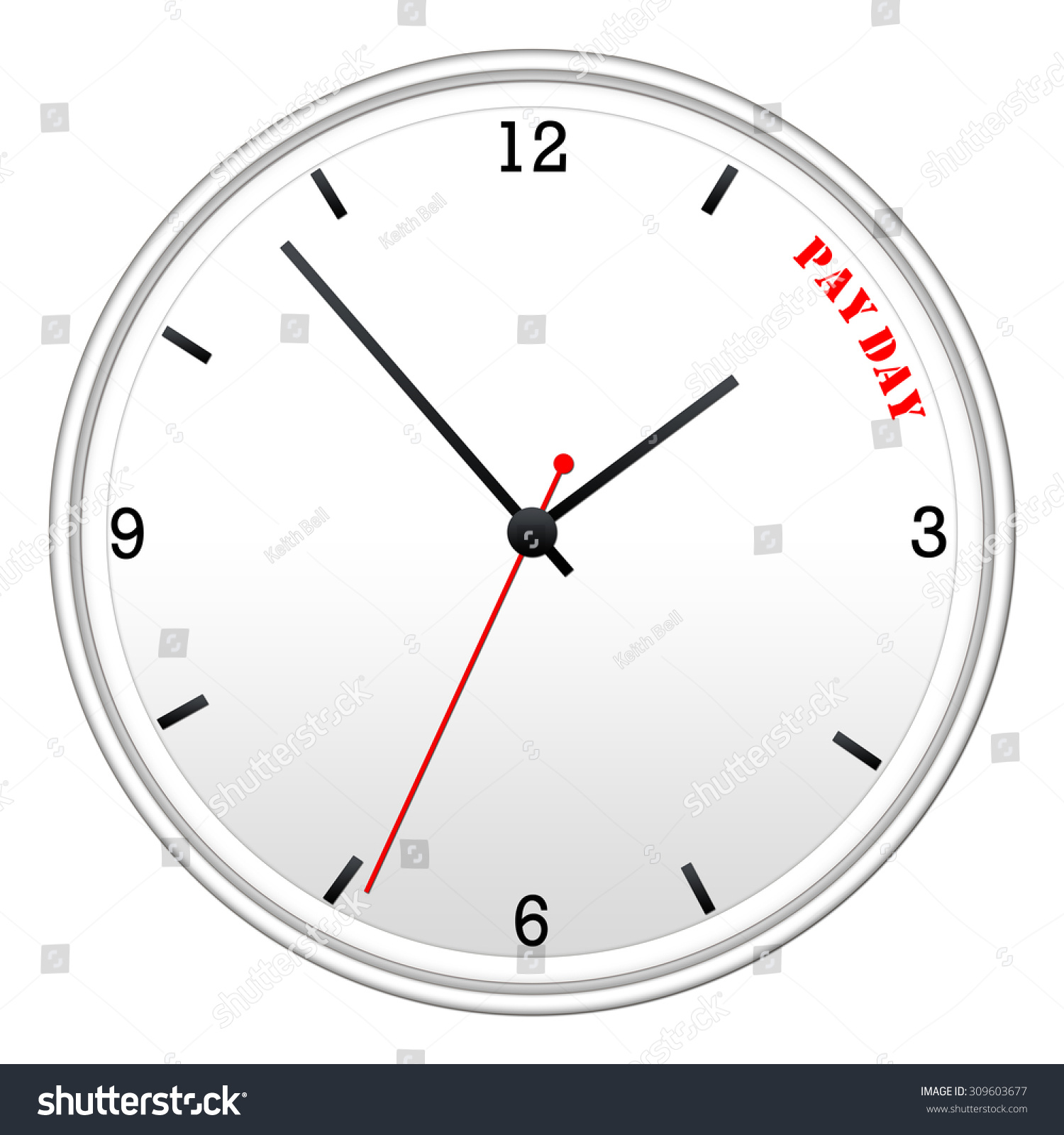 Time pay day white wall clock stock illustration 309603677 time for pay day white wall clock making a great concept amipublicfo Image collections