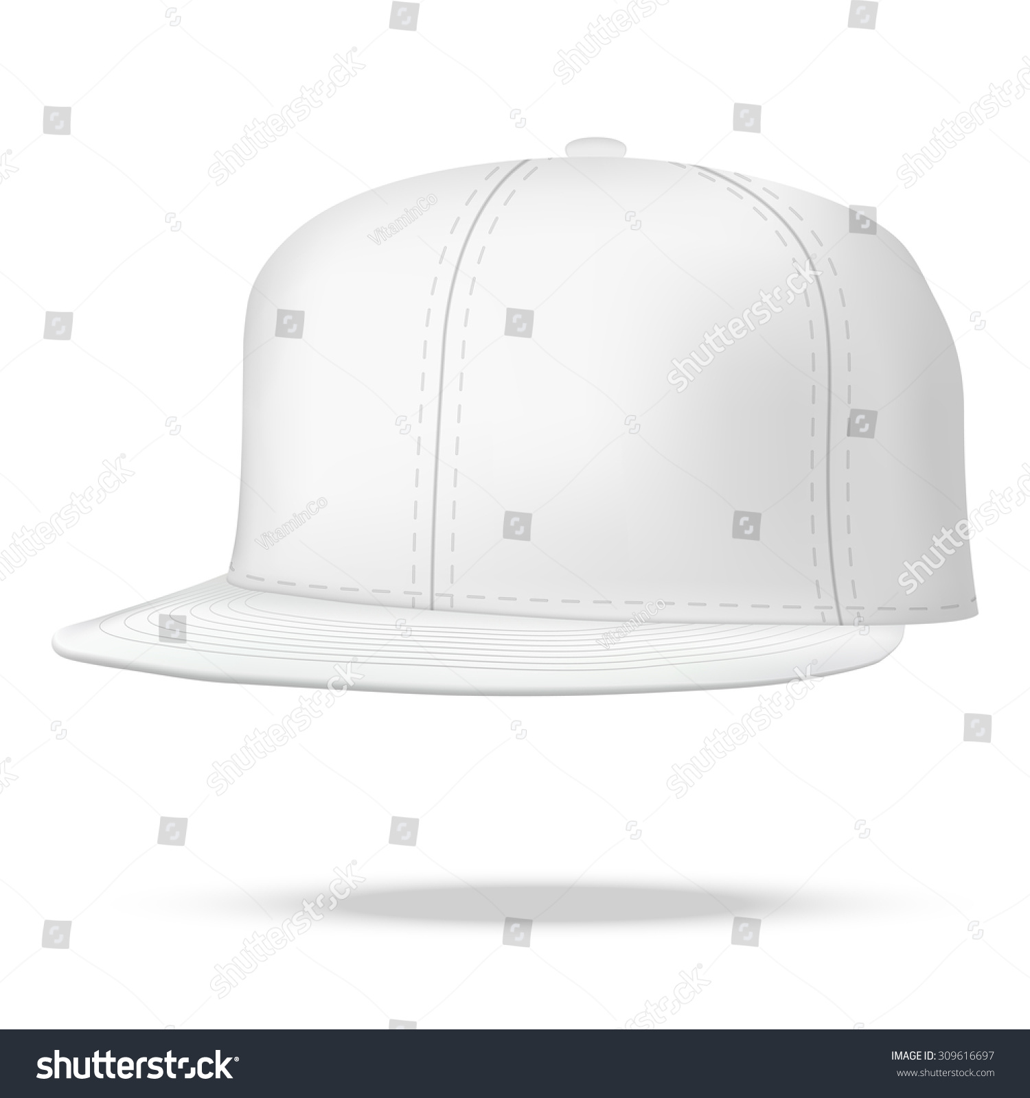 Rap Template | Layout Male White Rap Cap Template Stock Illustration 309616697
