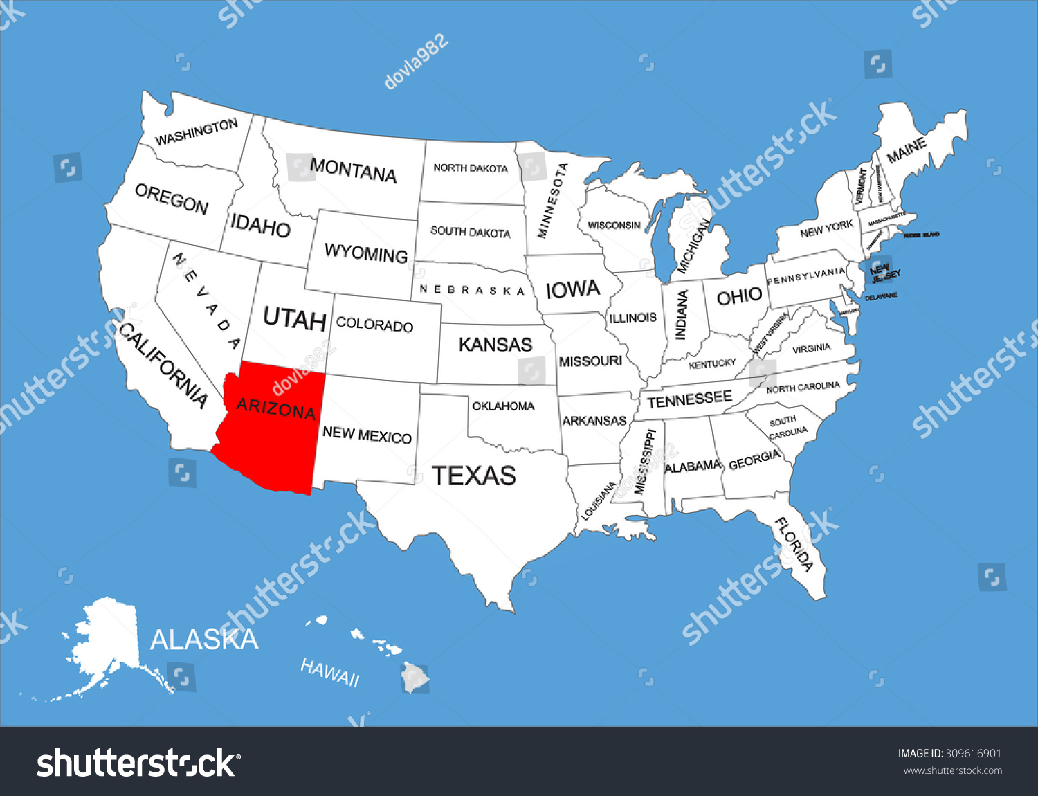 Arizona State USA Vector Map Isolated Stock Vector (Royalty Free