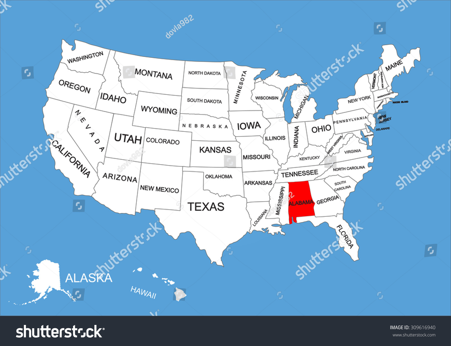 Alabama State Usa Vector Map Isolated Stock Vector - Us map alabama