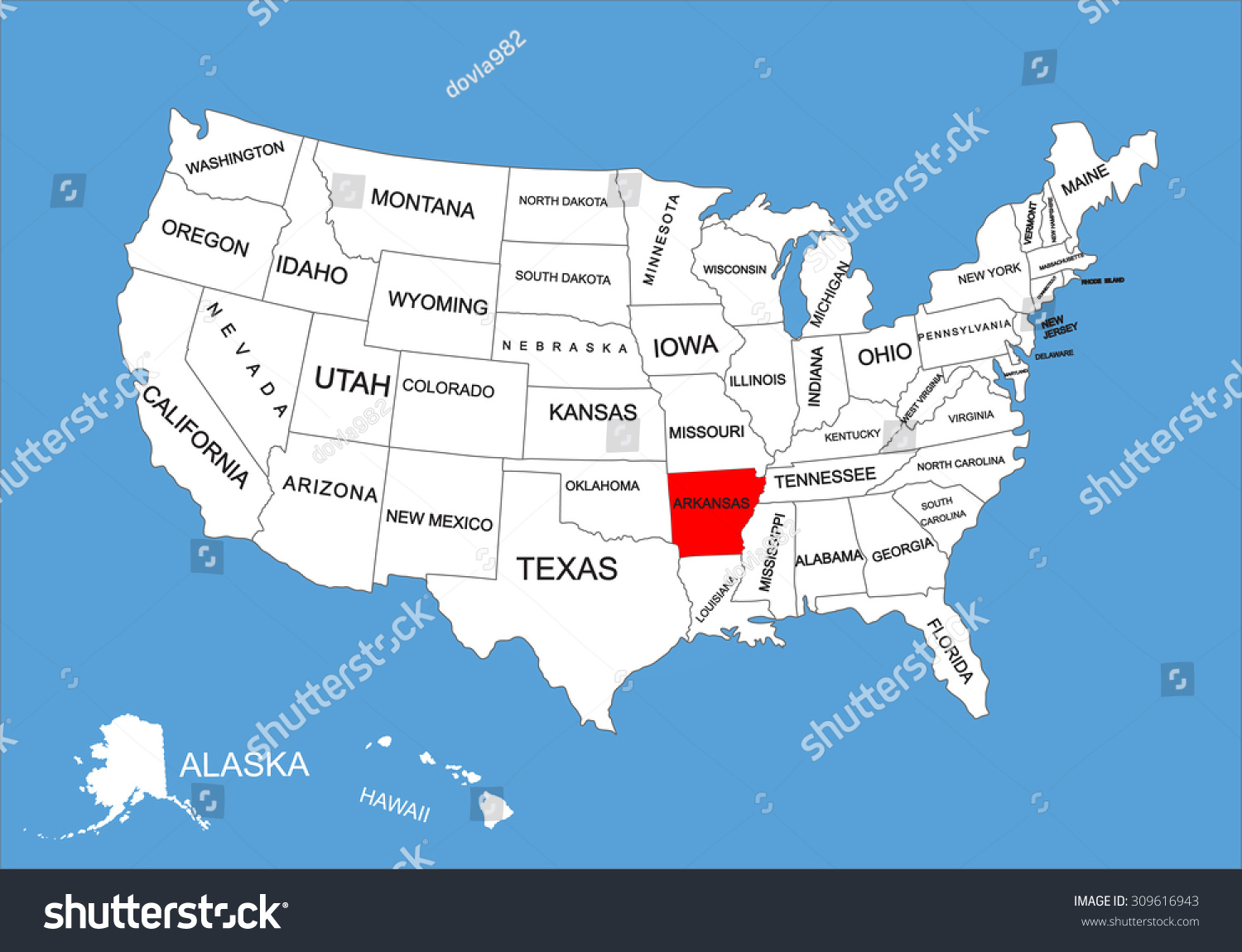 Arkansas State Usa Vector Map Isolated Stock Vector United States Map Arkansas