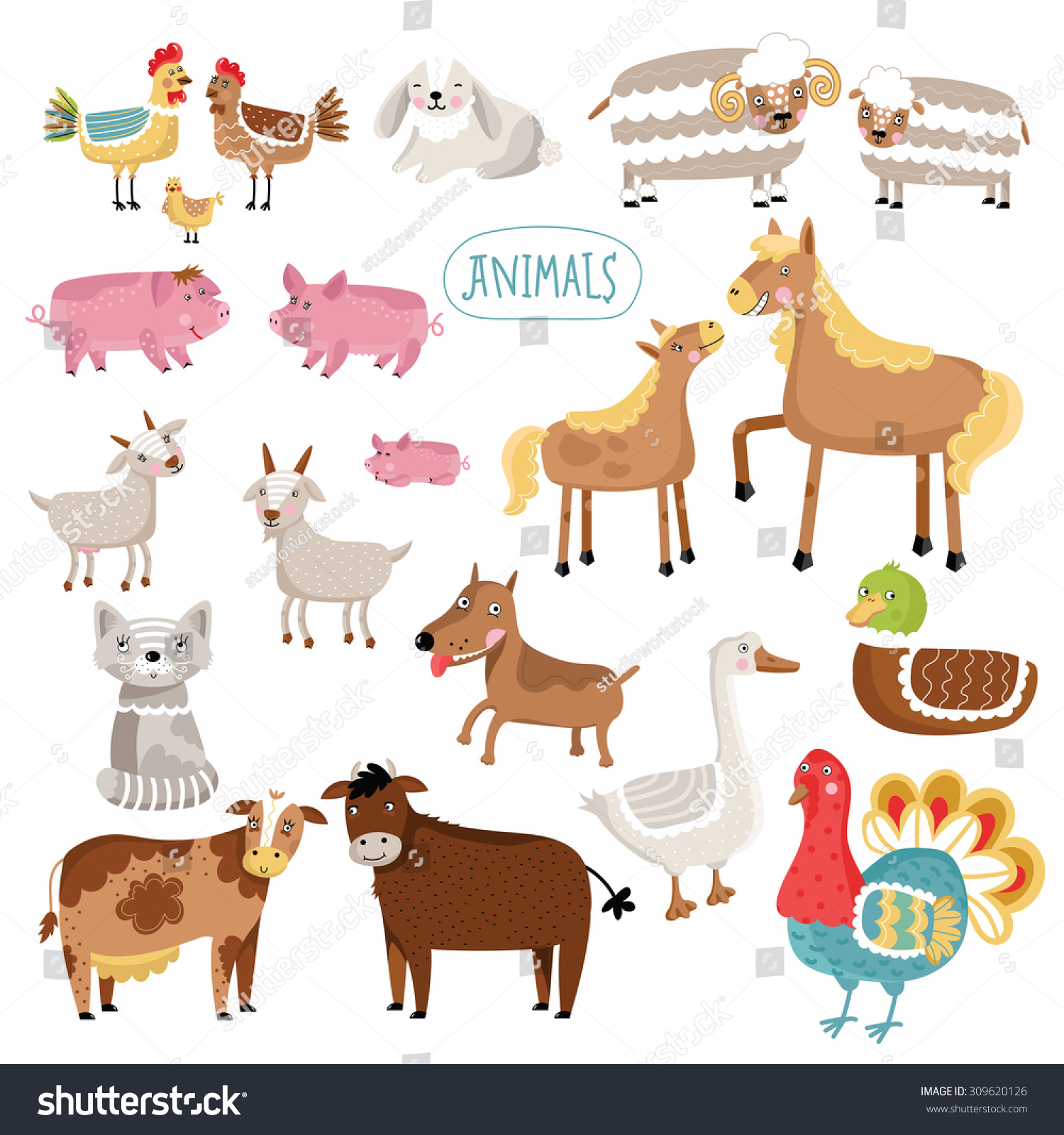 cartoon farm animals isolated on white stock vector 309620126