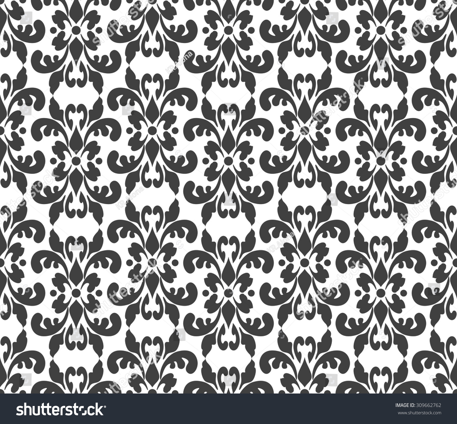 Black White Elegant Damask Wallpaper Vintage Stock Vector Royalty