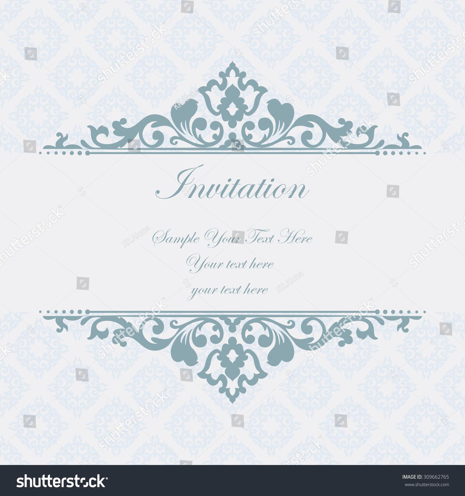 Elegant invitation decorative vintage frame beautiful stock vector elegant invitation decorative vintage frame beautiful floral invitation card vector damask illustration stopboris Choice Image