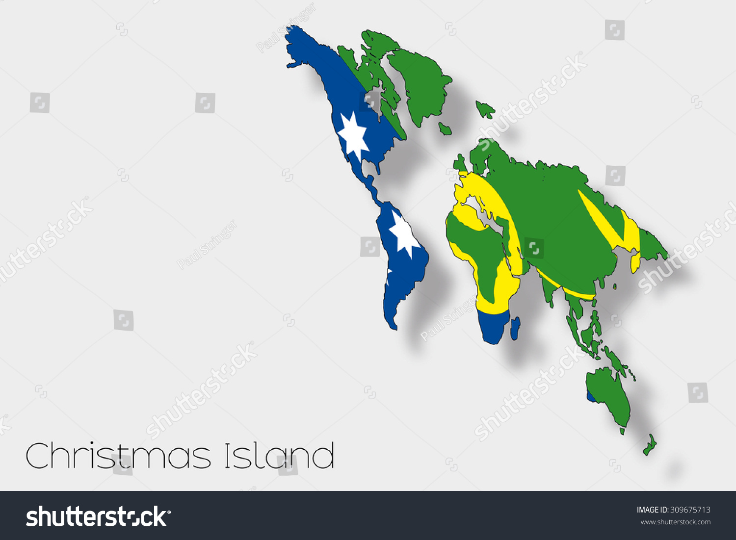 A 3D Isometric Flag Illustration of the country of Christmas Island ...
