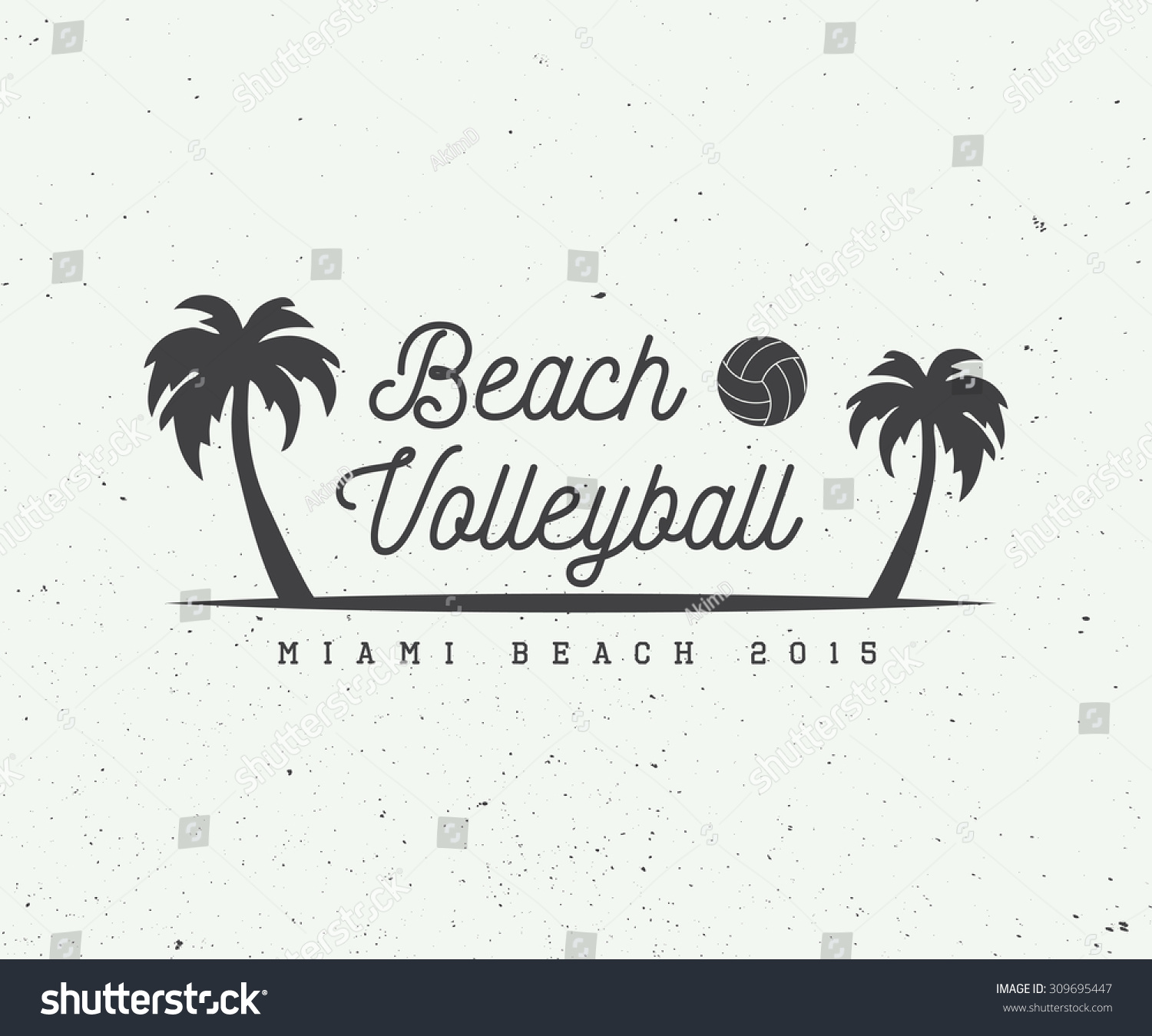 Vintage Beach Volleyball Label Emblem Logo Stock Vector ...