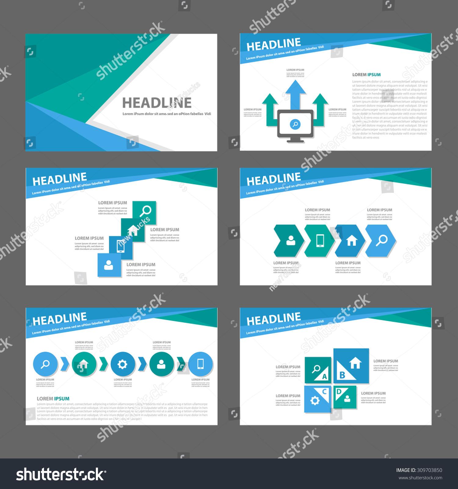 green blue multipurpose infographic presentation template stock, Presentation templates