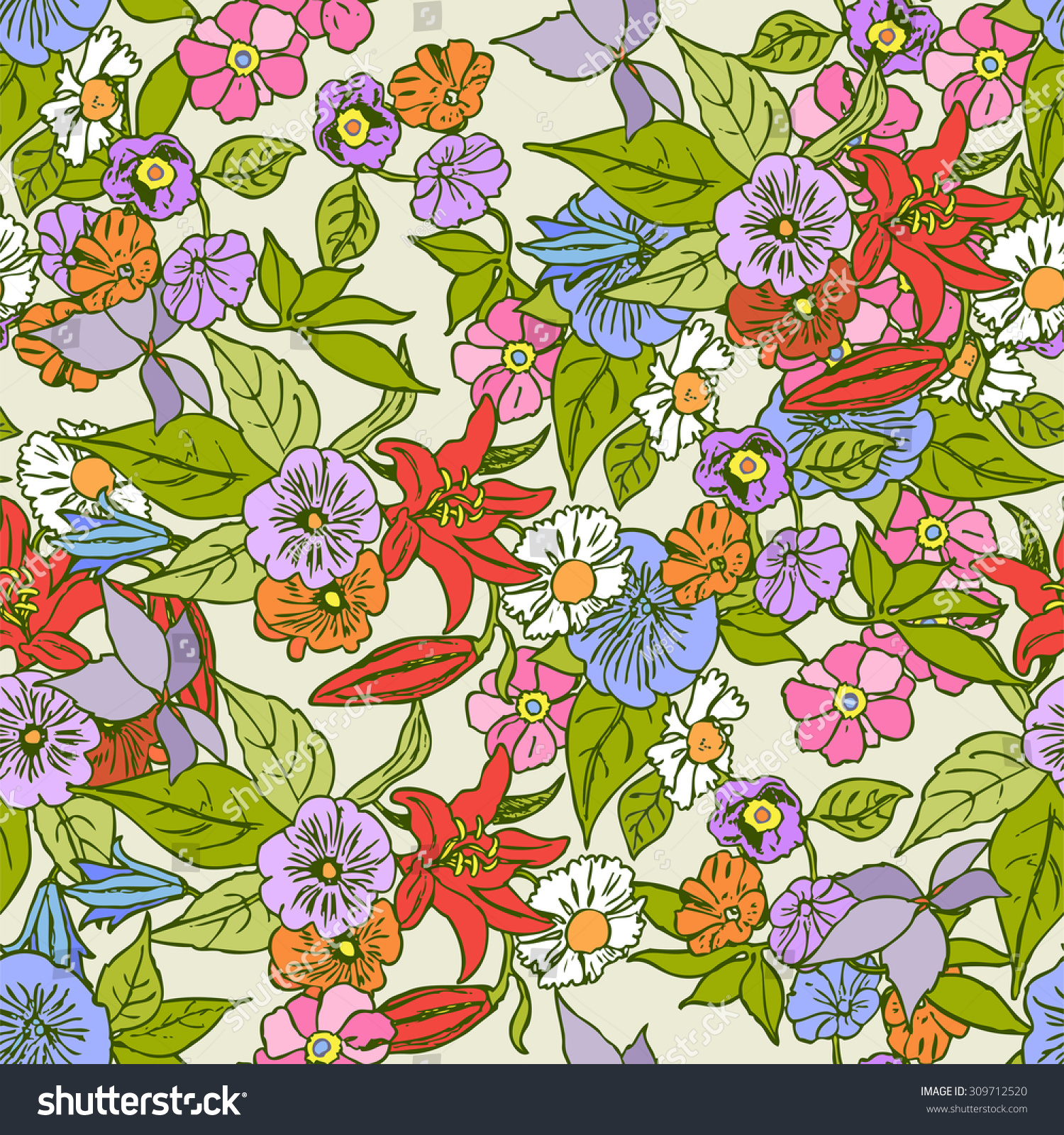 Vintage Style Floral Seamless Pattern Vector Stock Vector Royalty