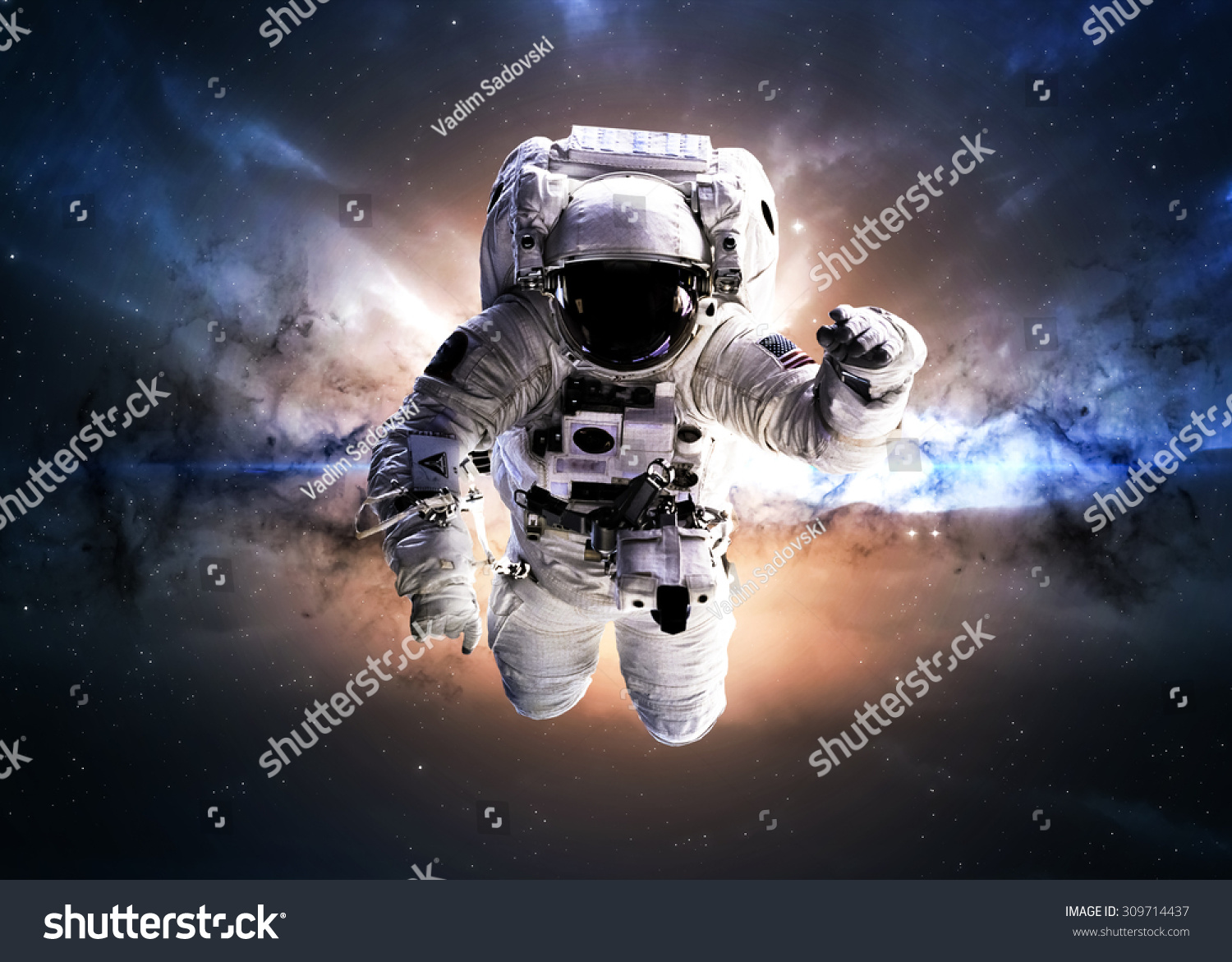 Astronaut in outer space elements of this image furnished for Outer space elements