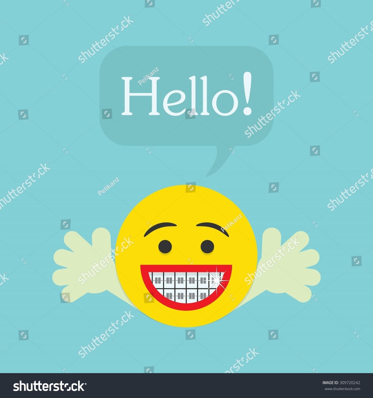 Hello Smiley Face Icon Big Smile Stock Vector 309720242