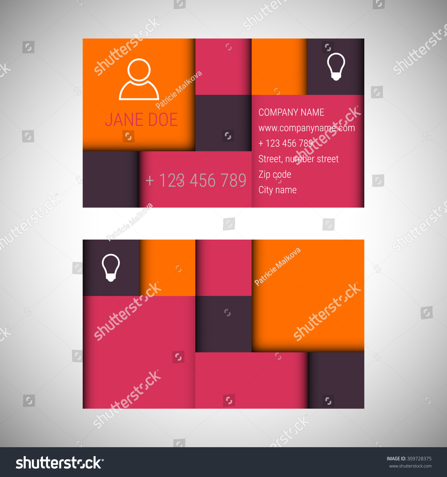 Business card abstract template flat design stock vector 309728375 business card abstract template with flat design and with icons business cards design business alramifo Image collections