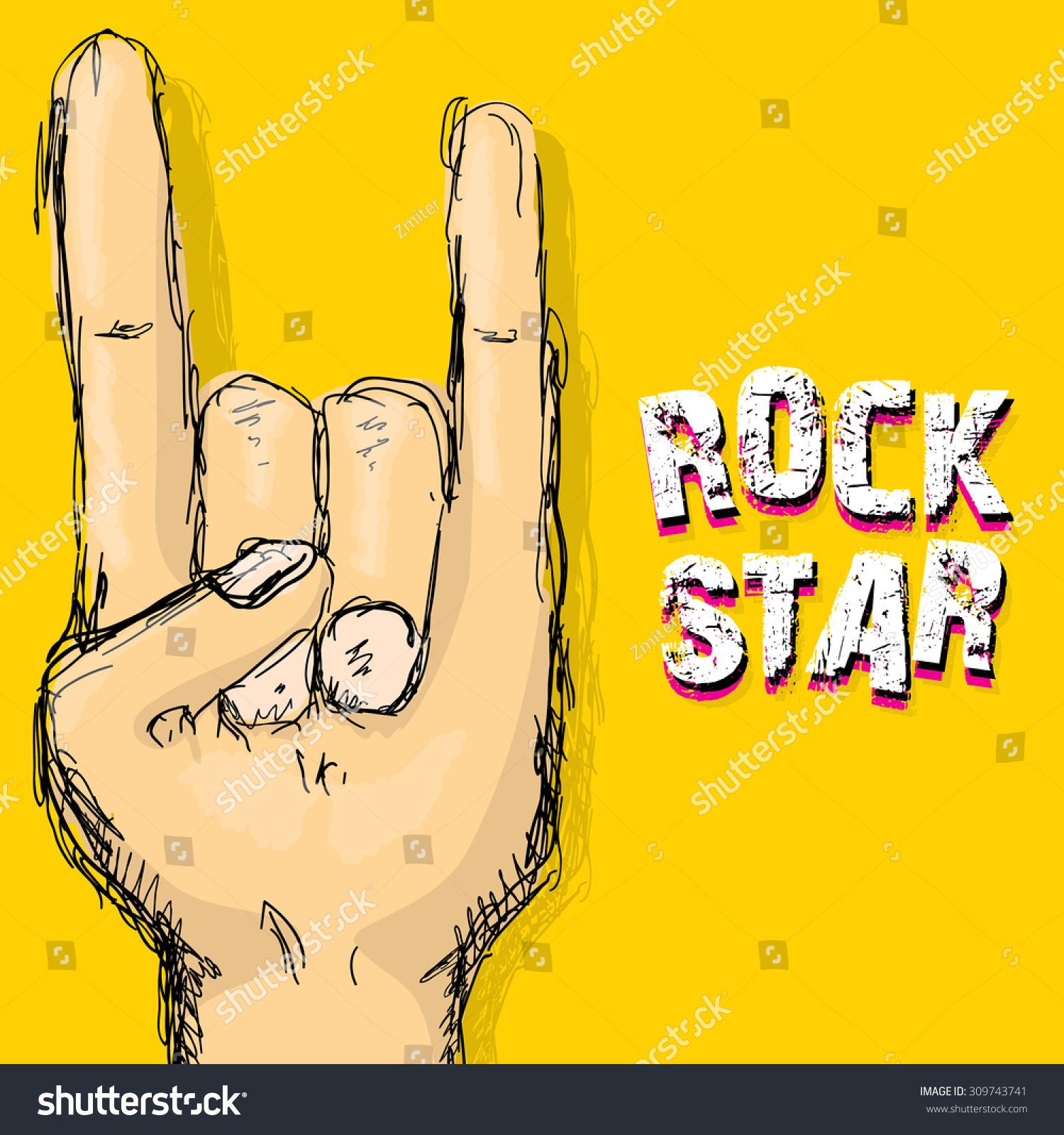 Rock n roll poster design - Vector Doodle Hand Sign Rock N Roll Music Rock N Roll Icon Rock Concert