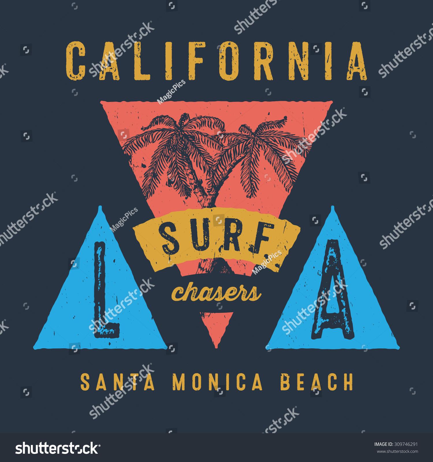 37 CALIFORNIA SURF CHASERS SANTA MONICA BEACH Handmade Palms trees retro style Design fashion apparel textured print T shirt graphic vintage vector illustration badge label logo template