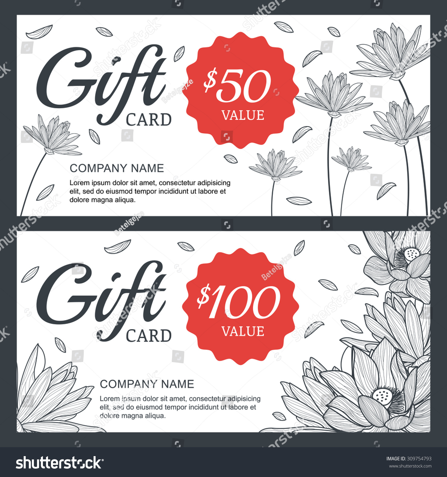 Vector floral gift voucher card background stock vector 309754793 vector floral gift voucher or card background template vintage illustration of lotus lily flowers yadclub Image collections