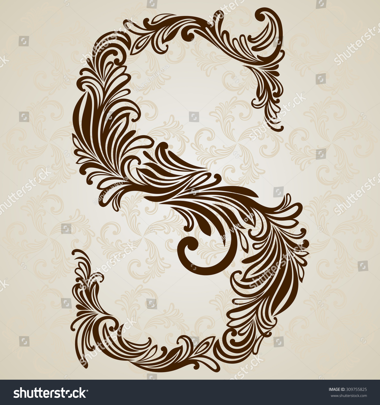 Calligraphic font vintage initials letter s vector design background