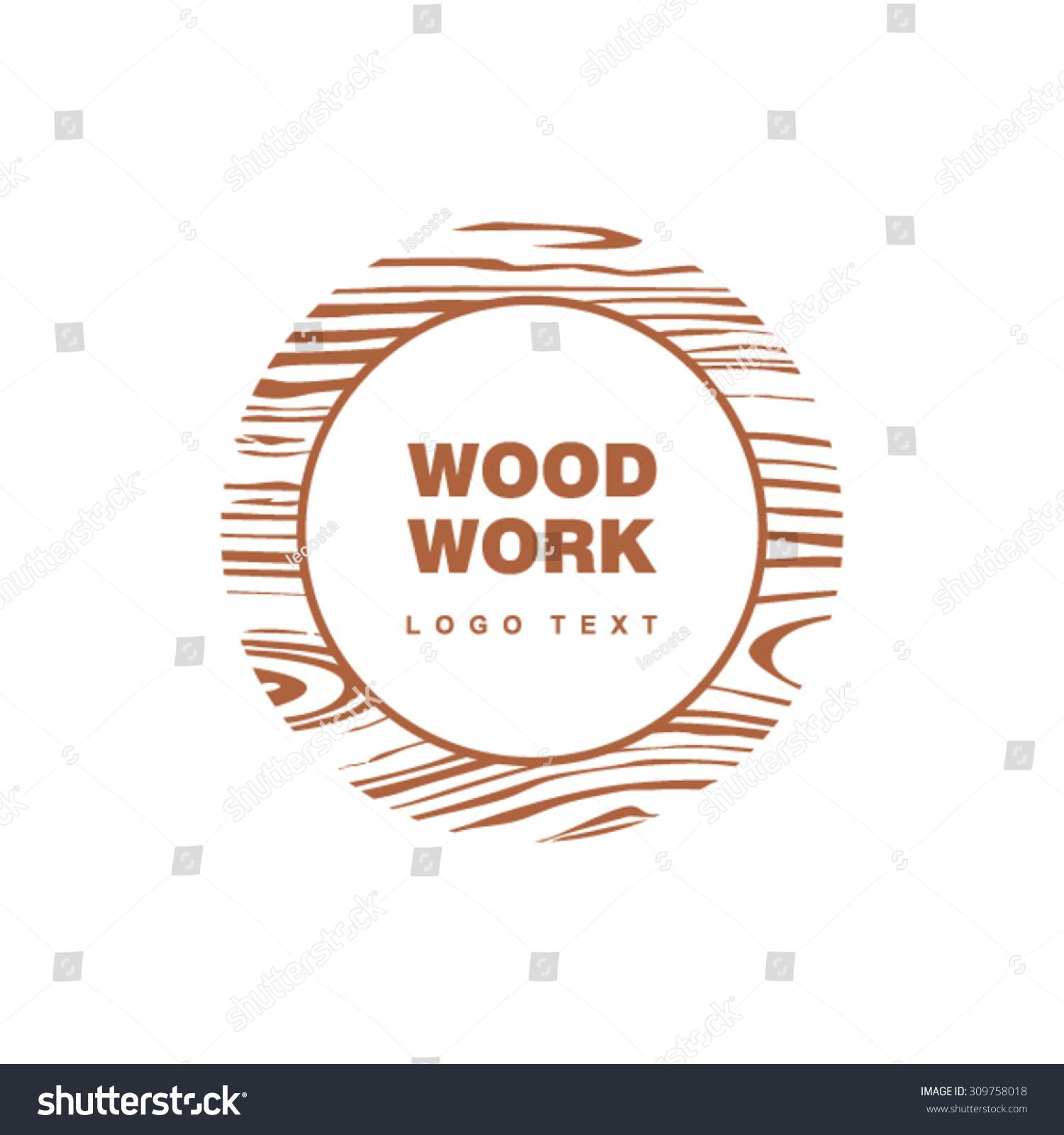 Woods Lumber Logo ~ Woodwork logo circle wooden pattern stock vector