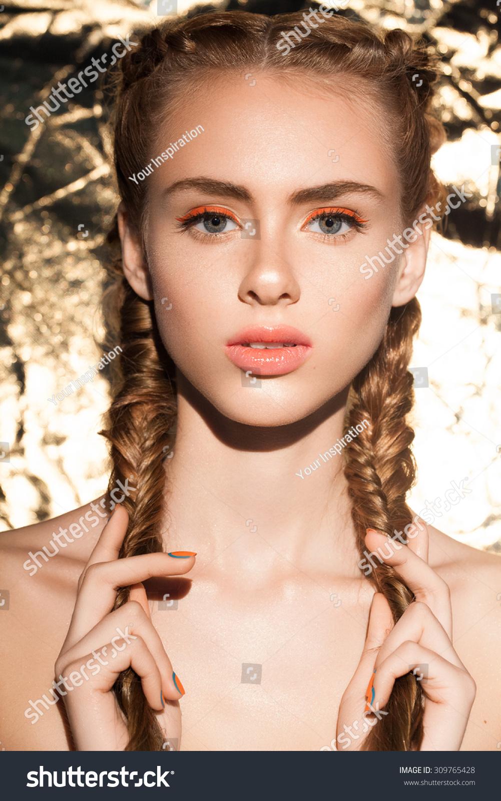 beautiful woman great nude makeup pink stock photo (royalty free