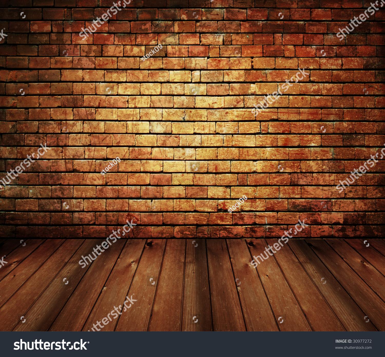 Vintage brick wall wood floor texture stock photo 30977272 - Pared rustica interior ...
