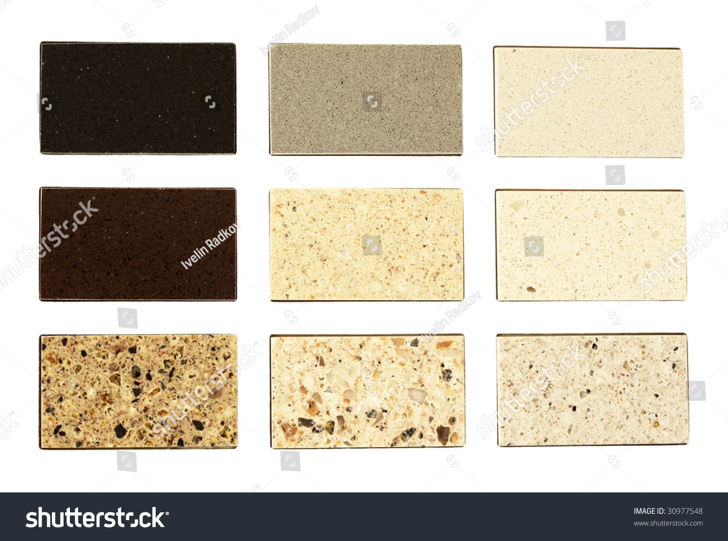 For Kitchen Worktops Stone Samples For Kitchen Worktops Over White Stock Photo