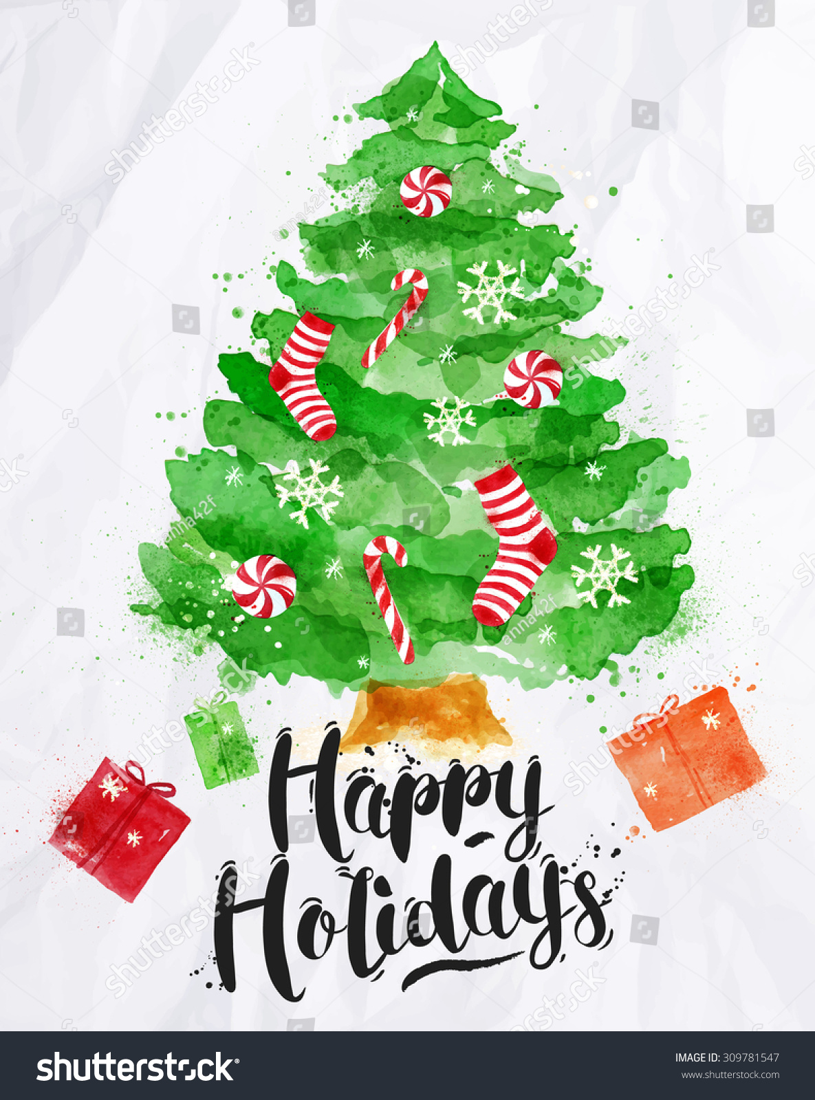 Watercolor Poster Decorated Christmas Tree Lettering Stock ...