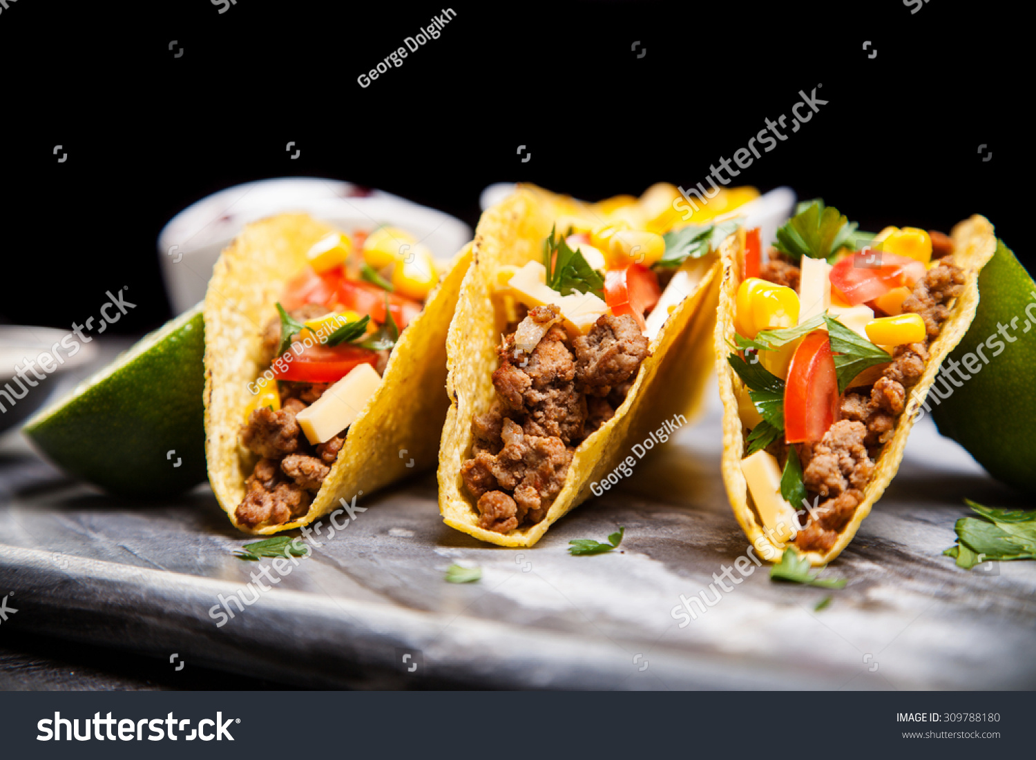 Mexican Food - Delicious Tacos With Ground Beef Stock ...