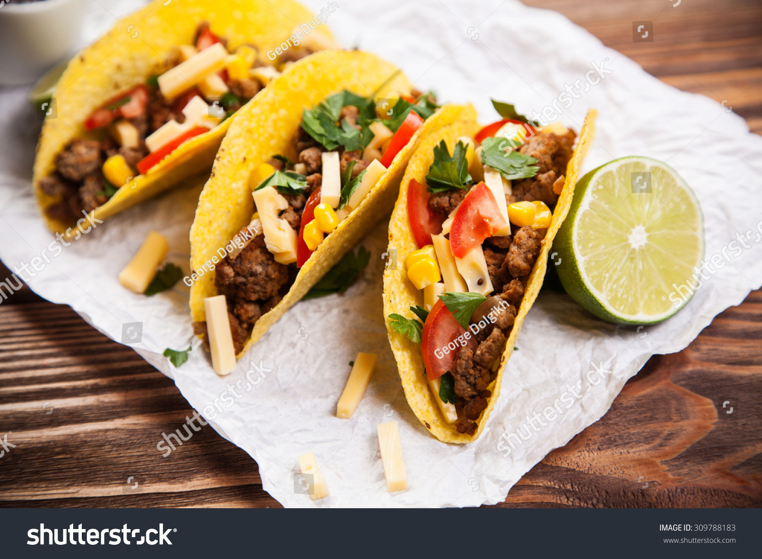 Mexican Food Delicious Tacos Ground Beef Stock Photo ...