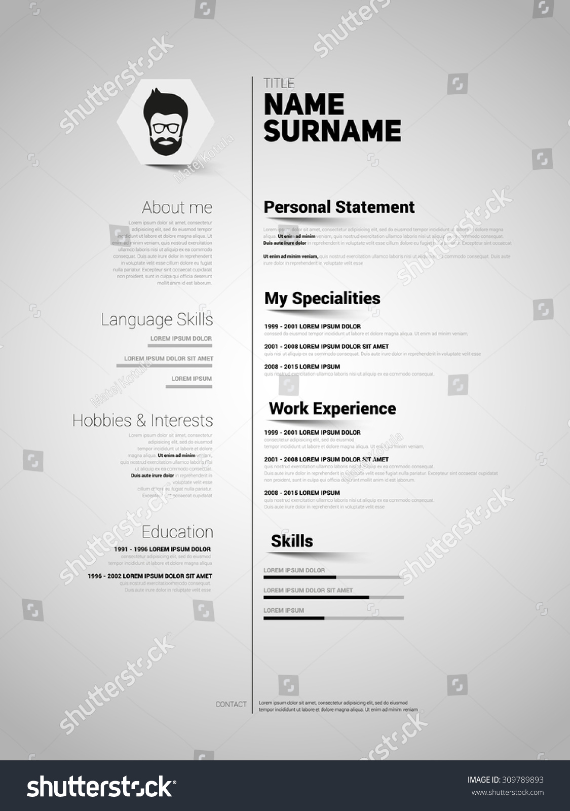 mini st cv resume template simple design stock vector 309789893 mini st cv resume template simple design vector