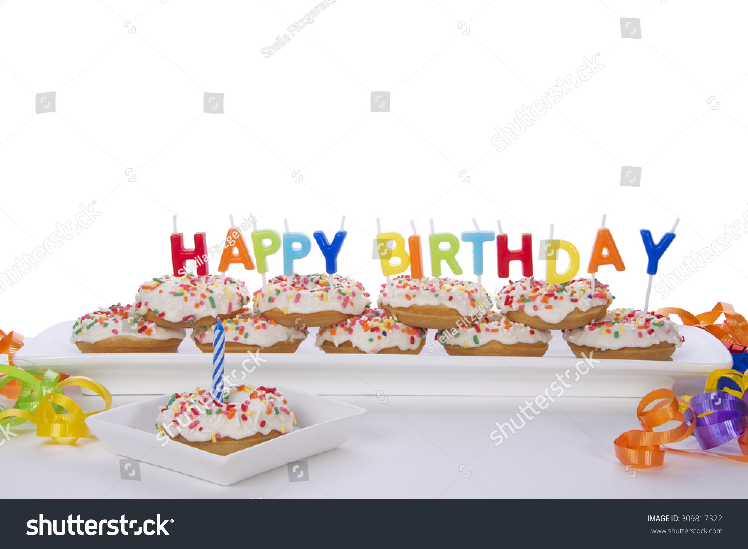 Miniature Donut Cake First Birthday Party Stock Photo Edit Now