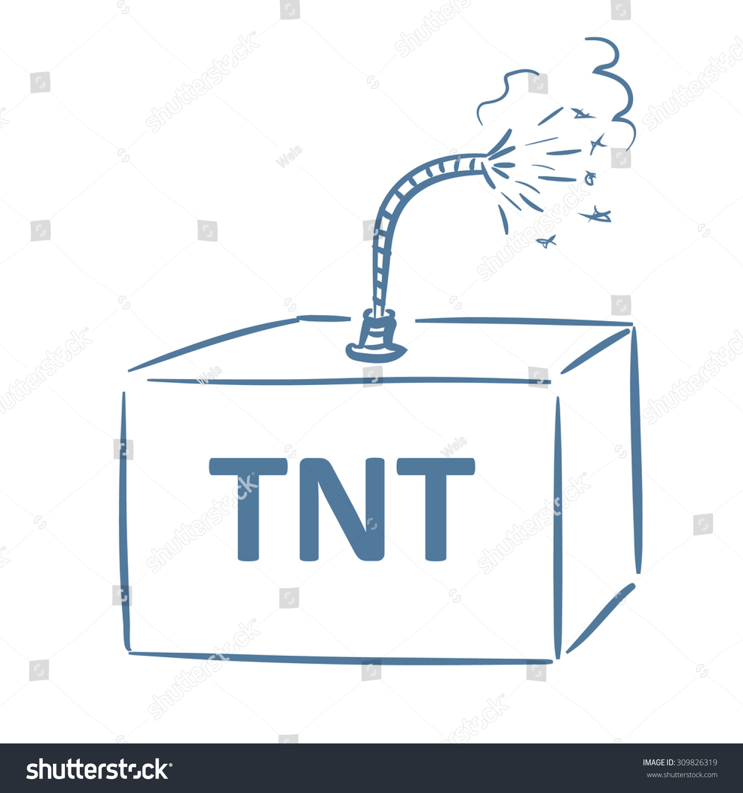 Tnt Box Burning Fuse Stock Vector Royalty Free 309826319 Cartoon With