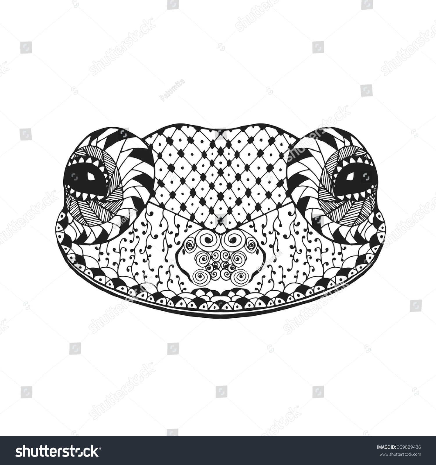 zentangle stylized frog animal coloring page stock vector