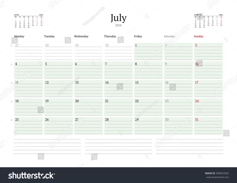 Calendar Planner Vector : Monthly calendar planner vector print template july