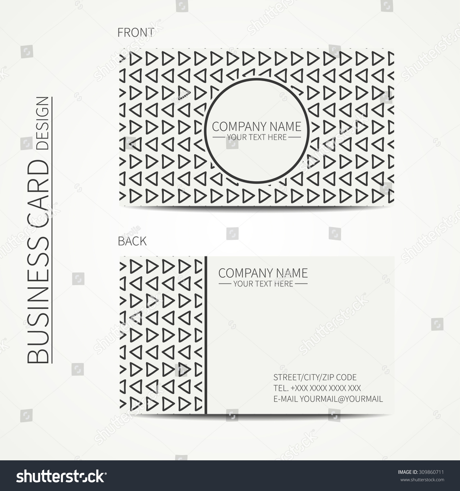 Geometric monochrome business card template hipster stock vector geometric monochrome business card template with hipster triangle for your design tribal native business card magicingreecefo Image collections